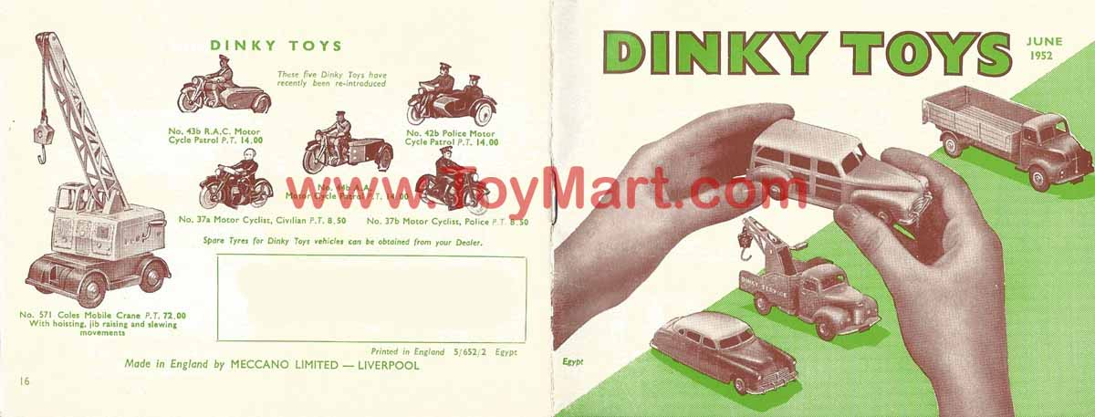 Dinky toys catalogue 1952 cover