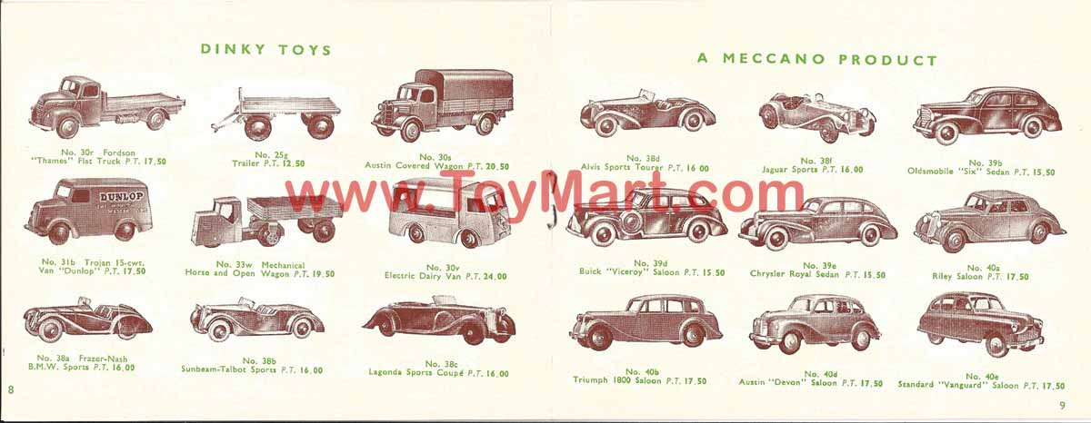Dinky toys catalogue 1952 08/09
