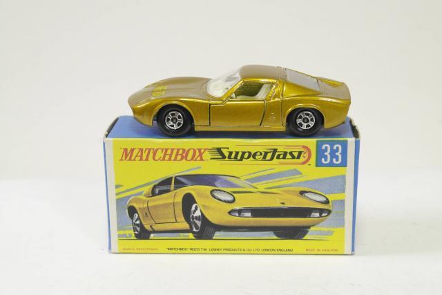 Matchbox Lesney 33 c Lamborghini Muira empty Repro E style Box