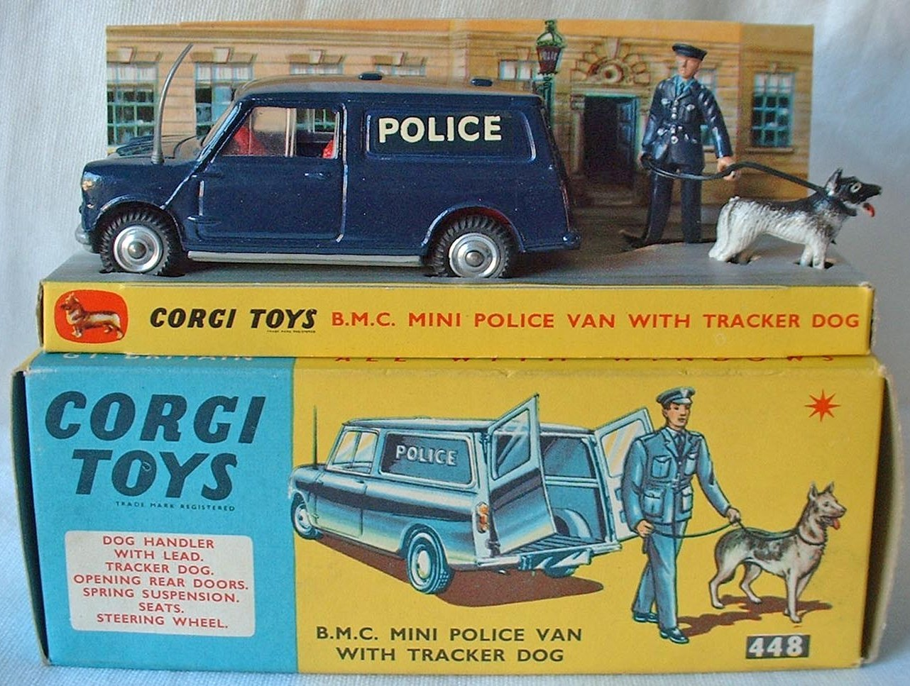 Corgi Toys  448 Morris Mini Police Van Policeman Dog and leash