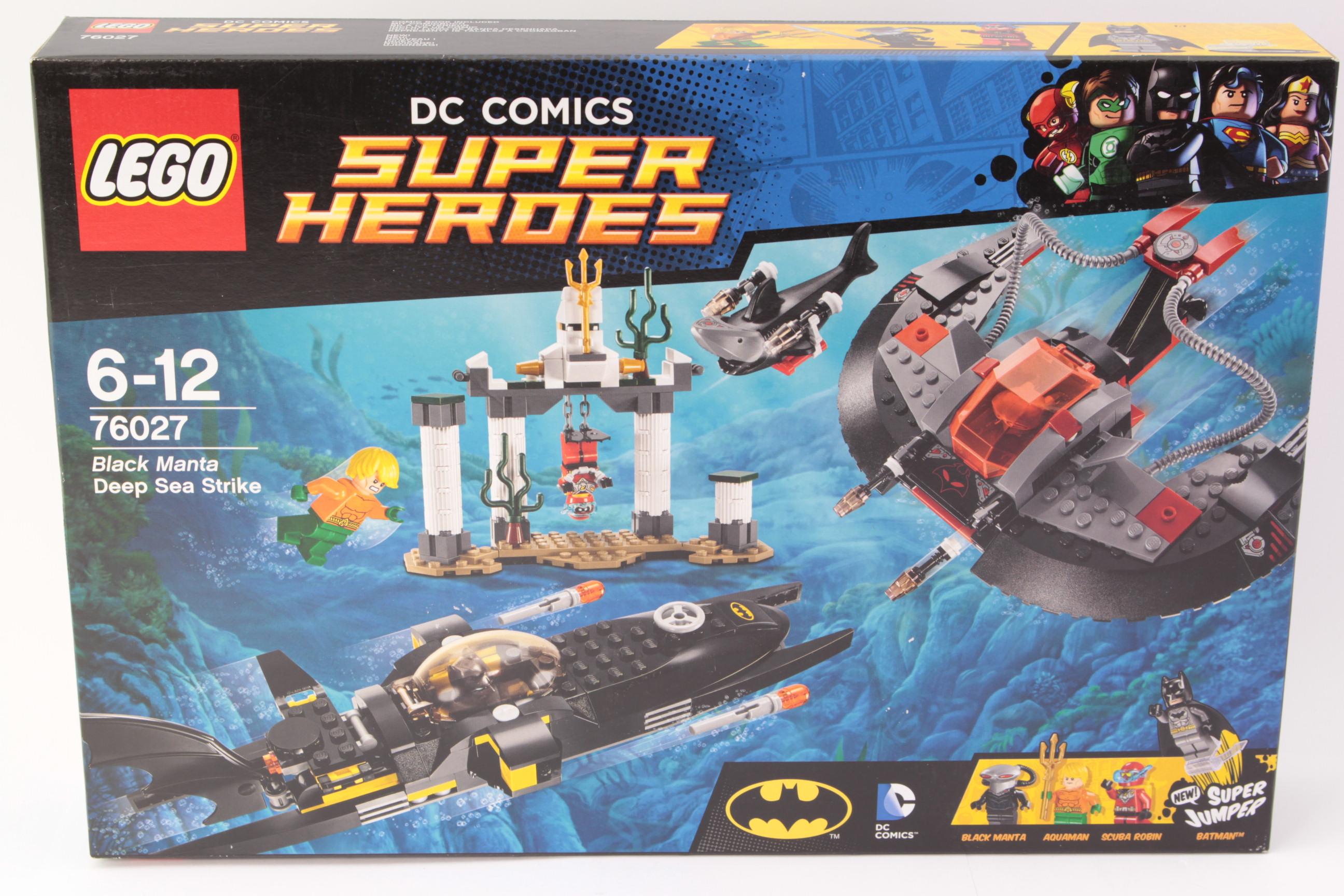 Lego DC Justice League Minifigure Black Manta Flat Silver Helmet 76027 EUC!