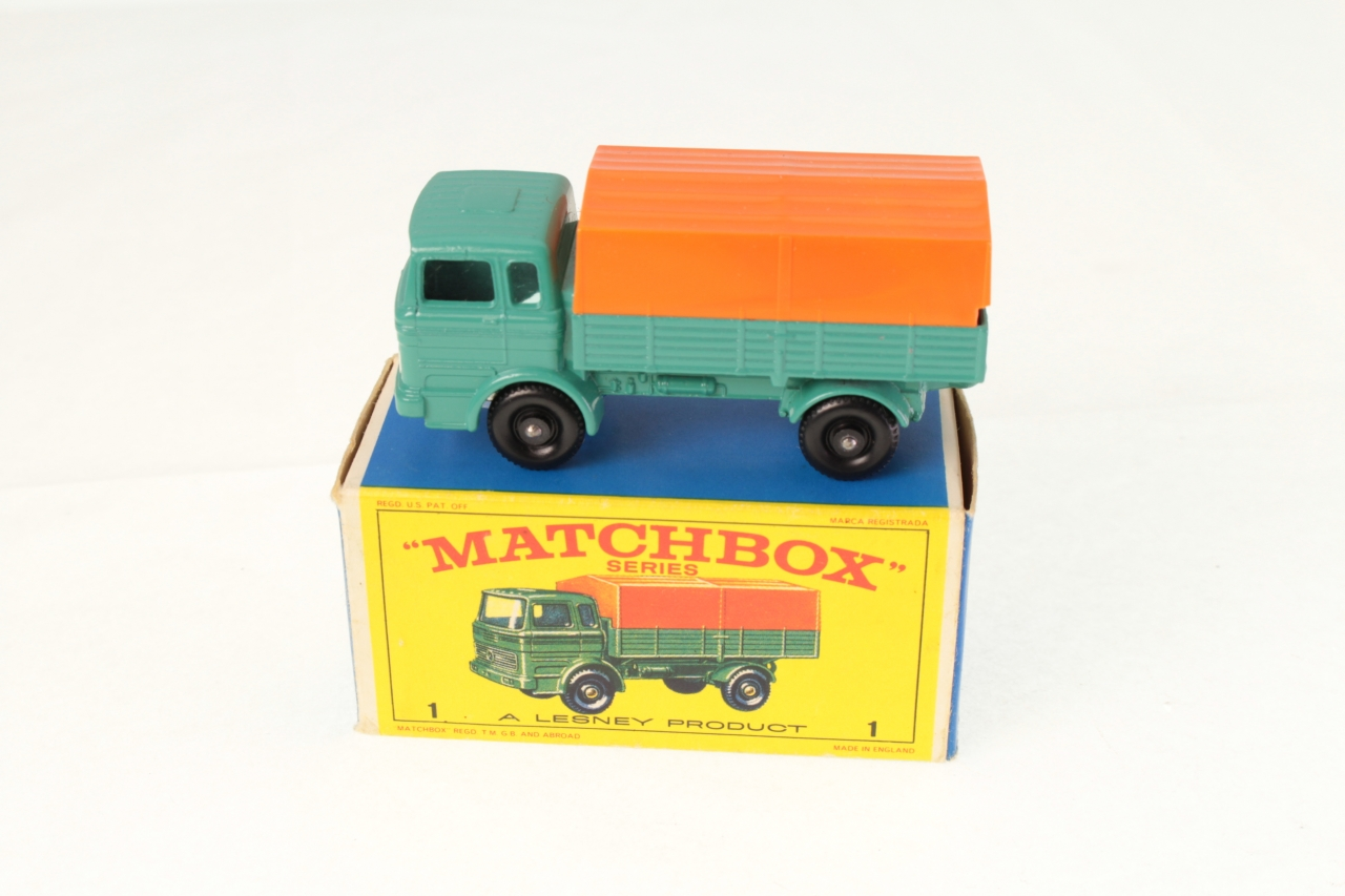 Matchbox #1e - Mercedes Truck - Turquoise/Orange